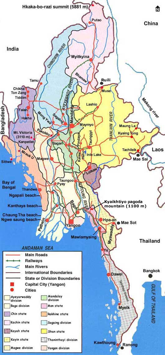 Country map of Myanmar Burma – Myanmar Travel Map