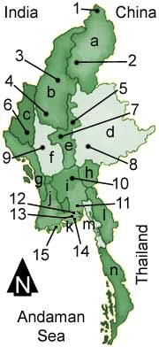 Location map of national parks in Myanmar