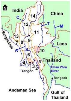 Myanmar Map With States